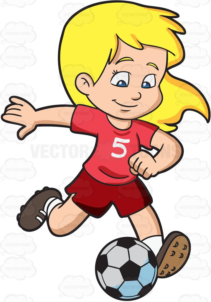 Cartoon A Girl Kicking A Soccer Ball vector clip art with.