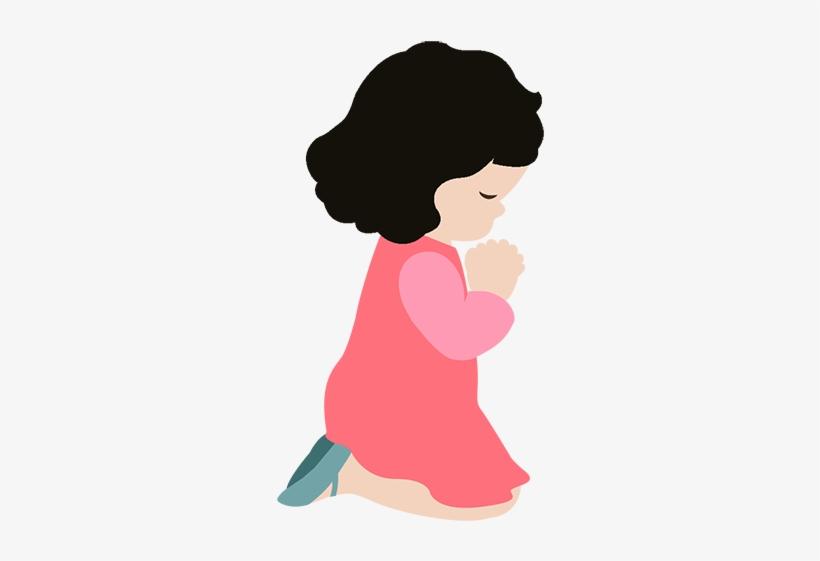 Little Cute Girl Praying.