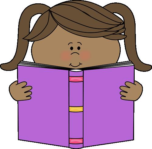 Little Girl Reading a Book Clip Art.