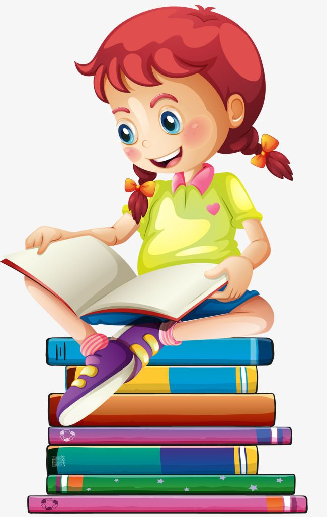 Girl Reading, Reading Clipart, The Cartoon, Girl PNG.