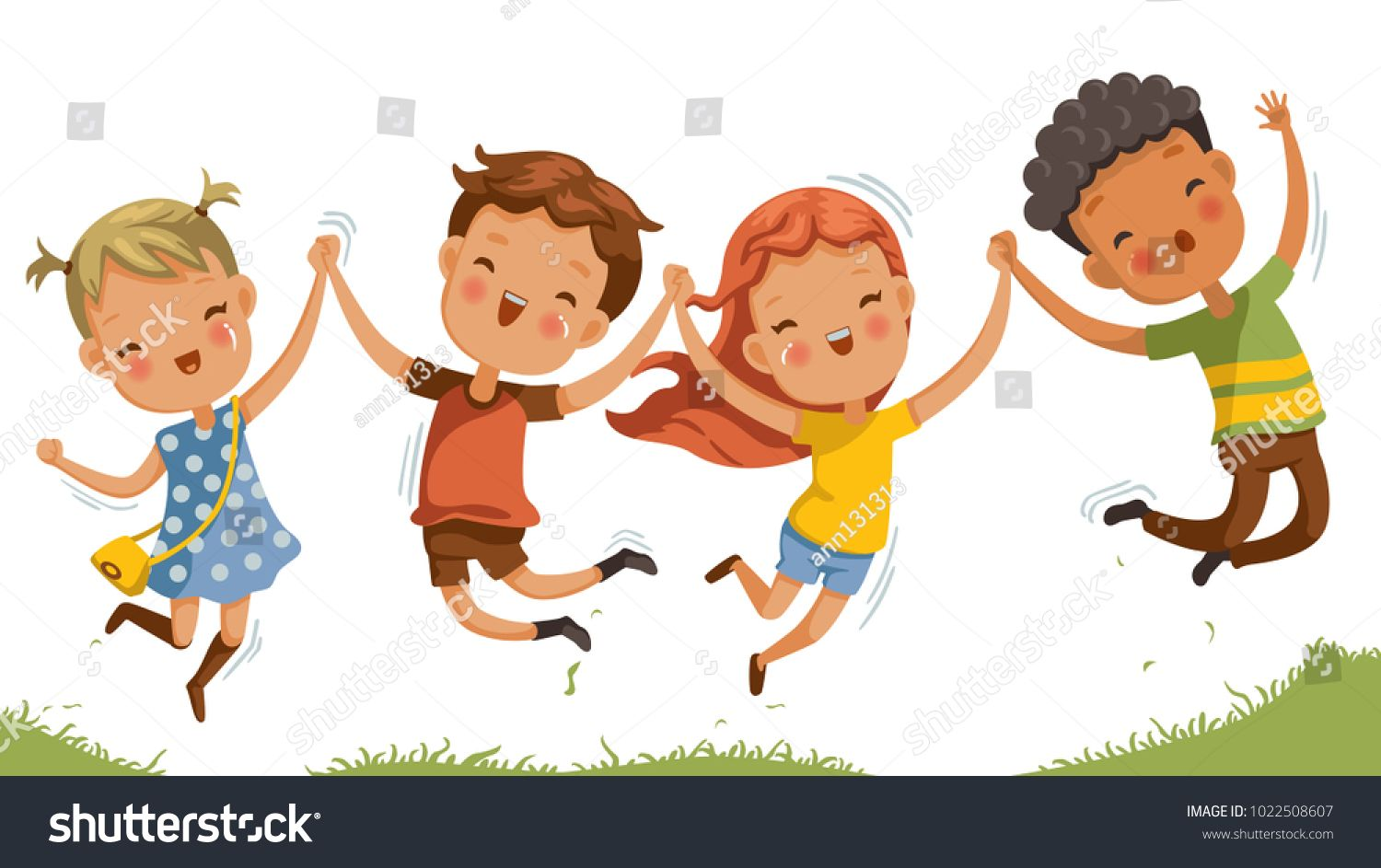 Boys and girls are playing together happily. Kids Play at.