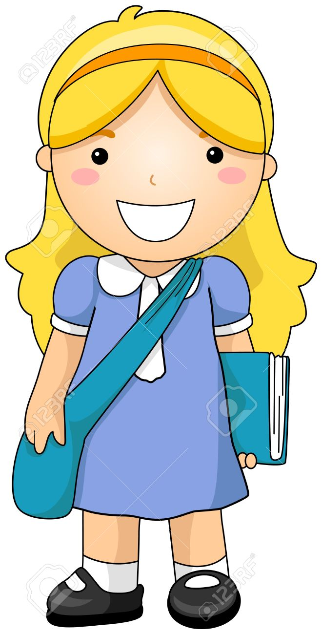 Clipart Of A Girl Student.