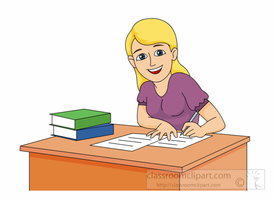 75+ Girl Studying Clipart.