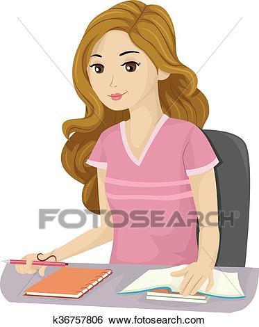 Teen Girl School Study Clip Art.