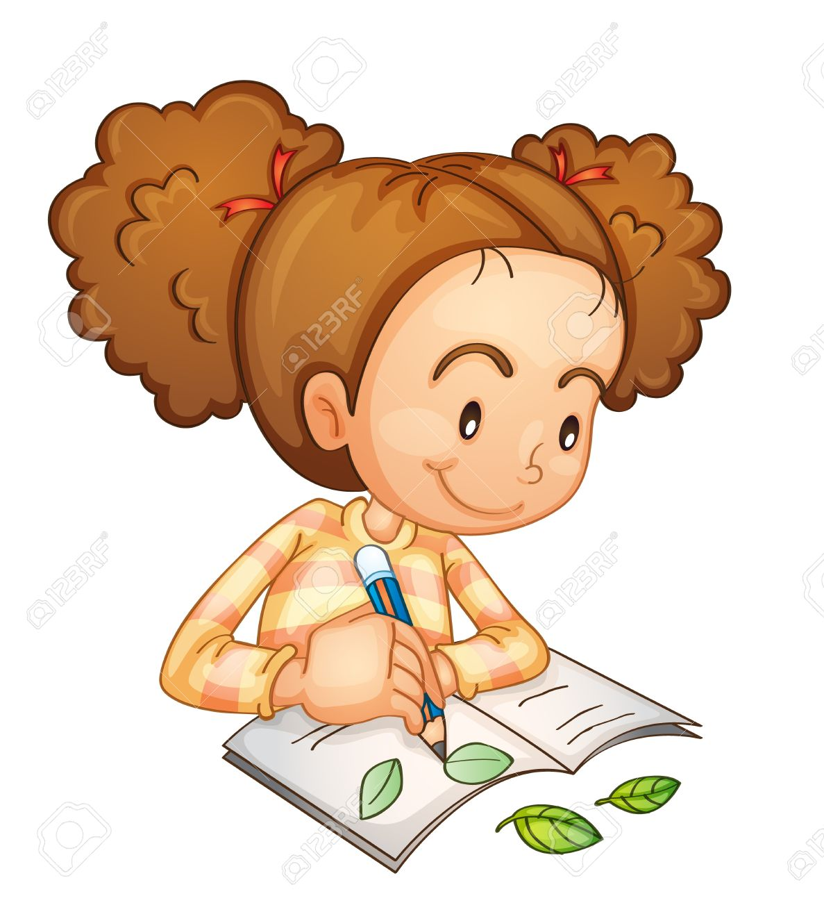 Illustration of a girl studying.