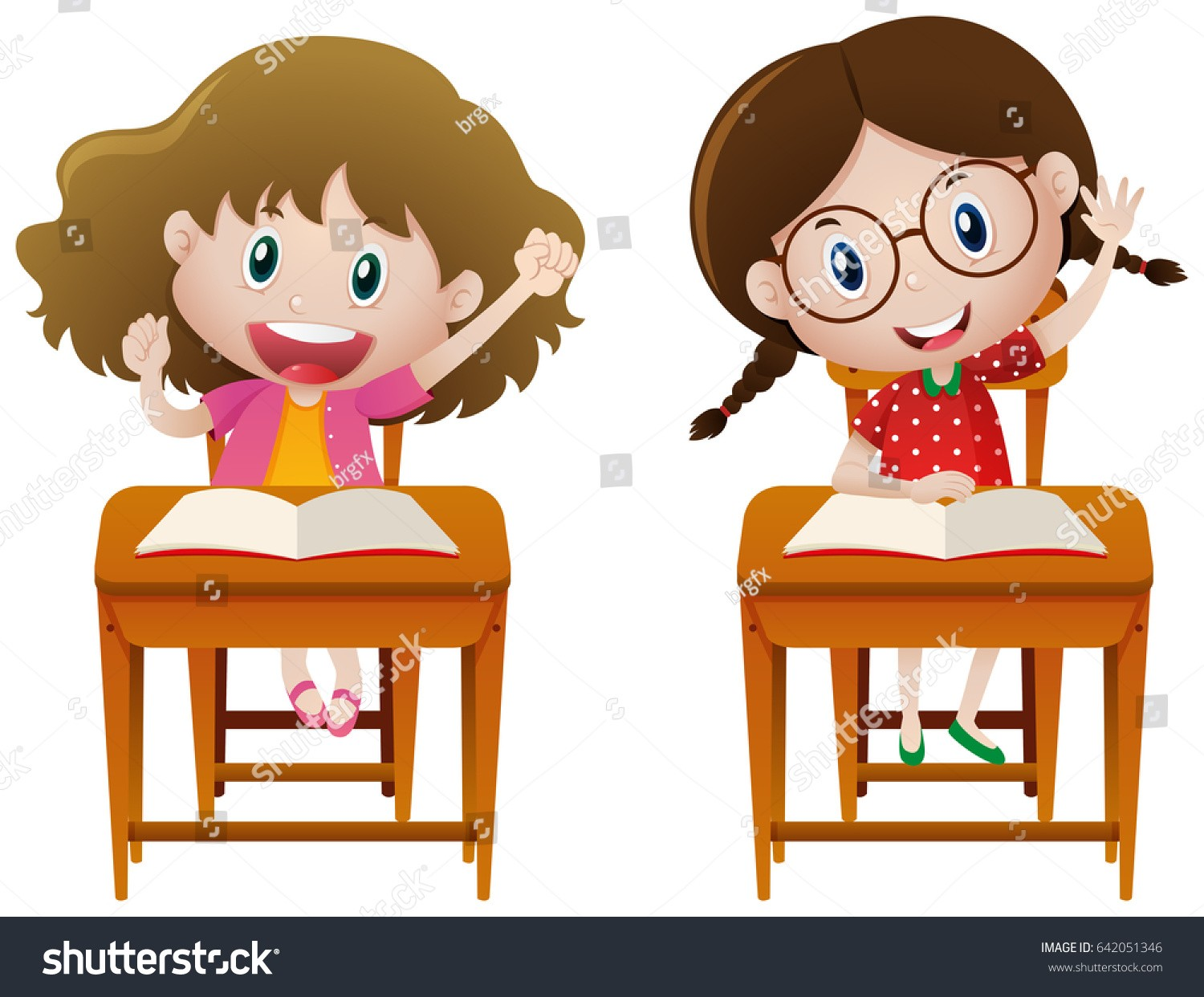 At Clipart Of A Girl Studying Two Girls Class Illustration Stock.