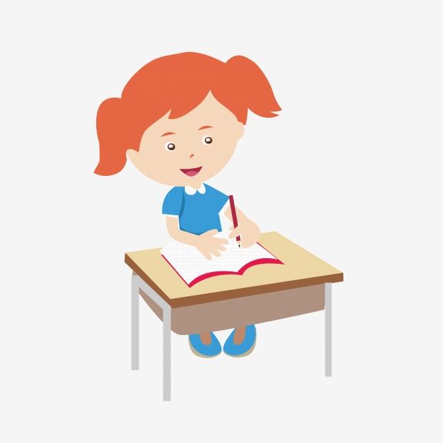 Vector Cartoon Girl Studying, Vector, Cartoon, Girl PNG Transparent.