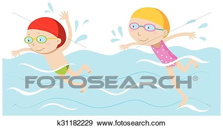 Boy and girl swimming in the pool Clip Art.