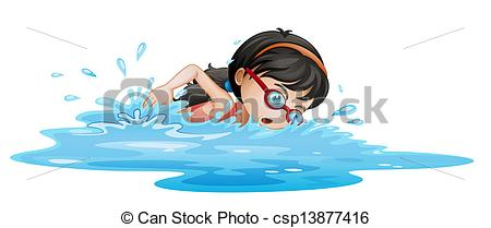 A girl swimming with goggles.