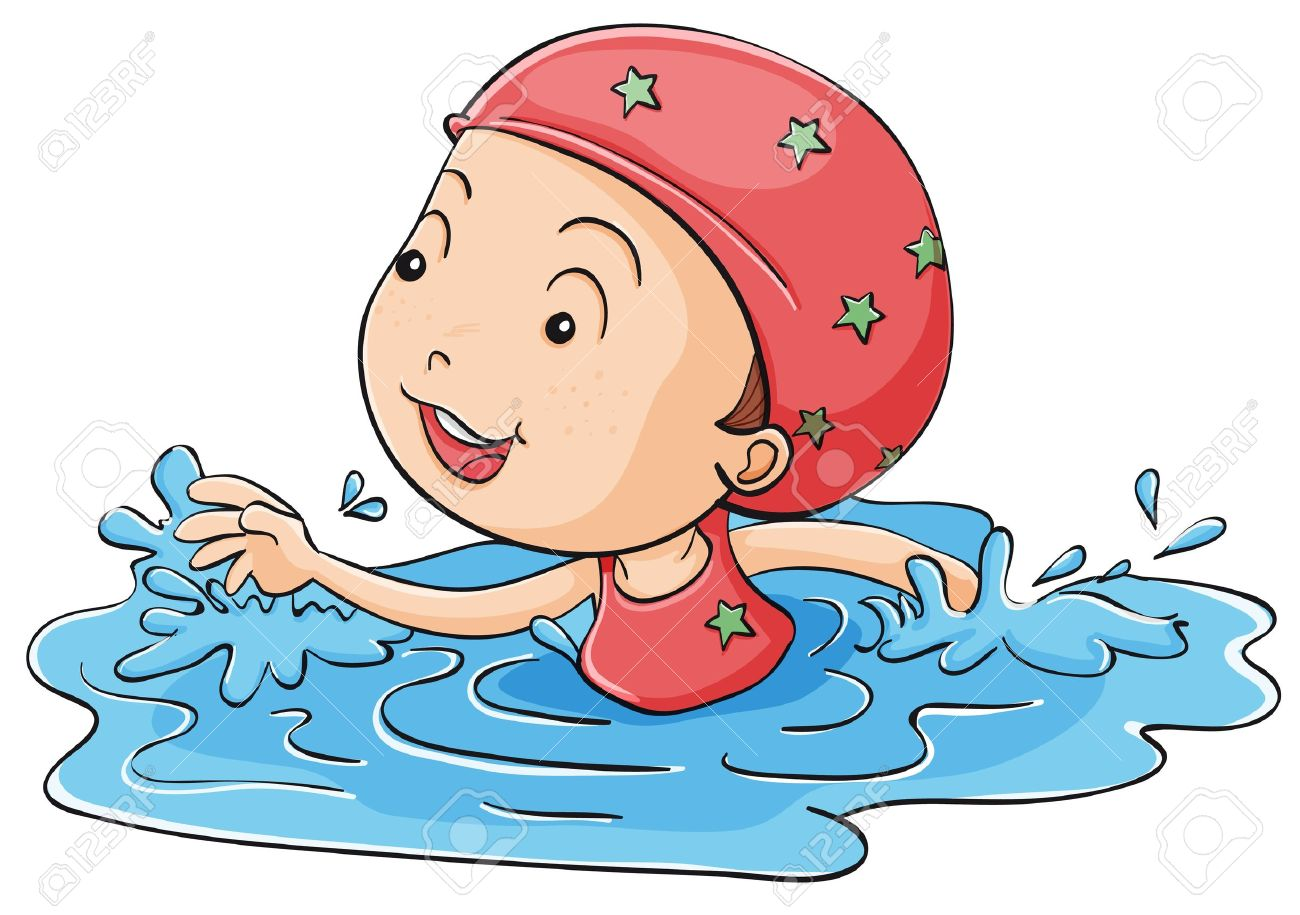 Illustration of a girl swimming.