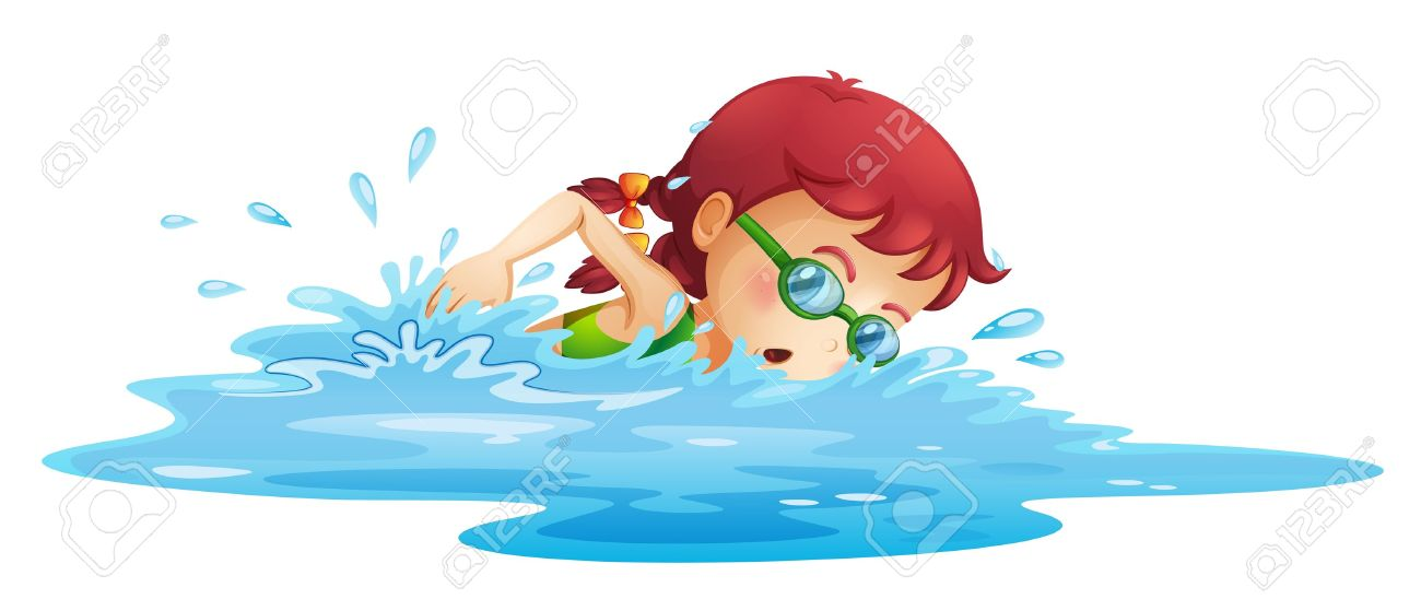 Illustration of a young girl swimming in her green swimming attire...