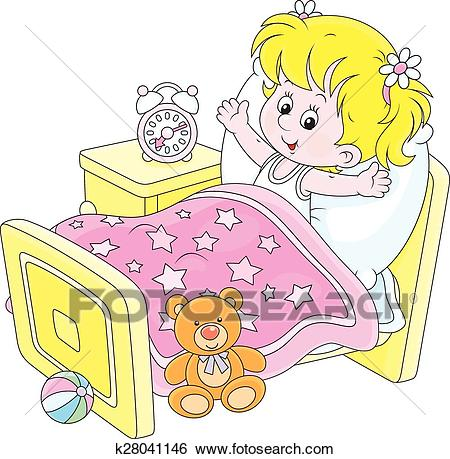Girl waking up Clip Art.