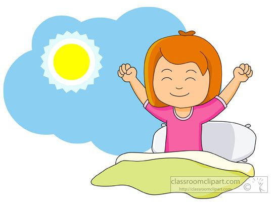 Girl Waking Up And Stretching In The Morning Classroom Clipart.