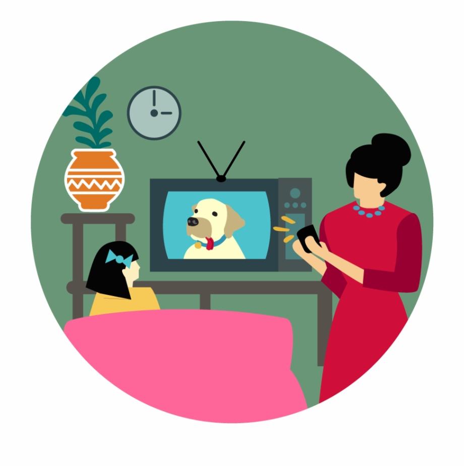 Mum Filming Girl Watching Tv.