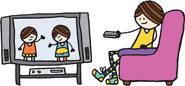 Girl Watching Tv Clipart.