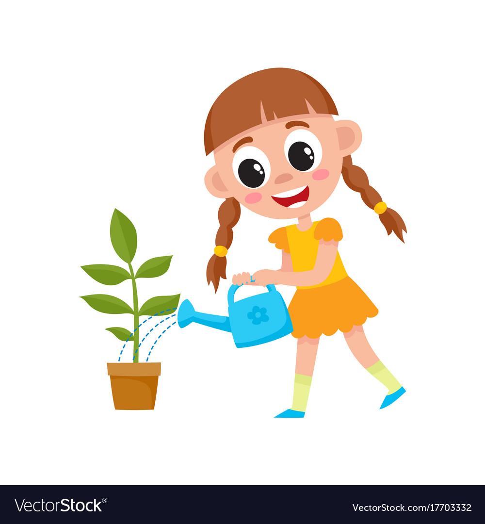 Flat cute girl kid watering plant in pot.
