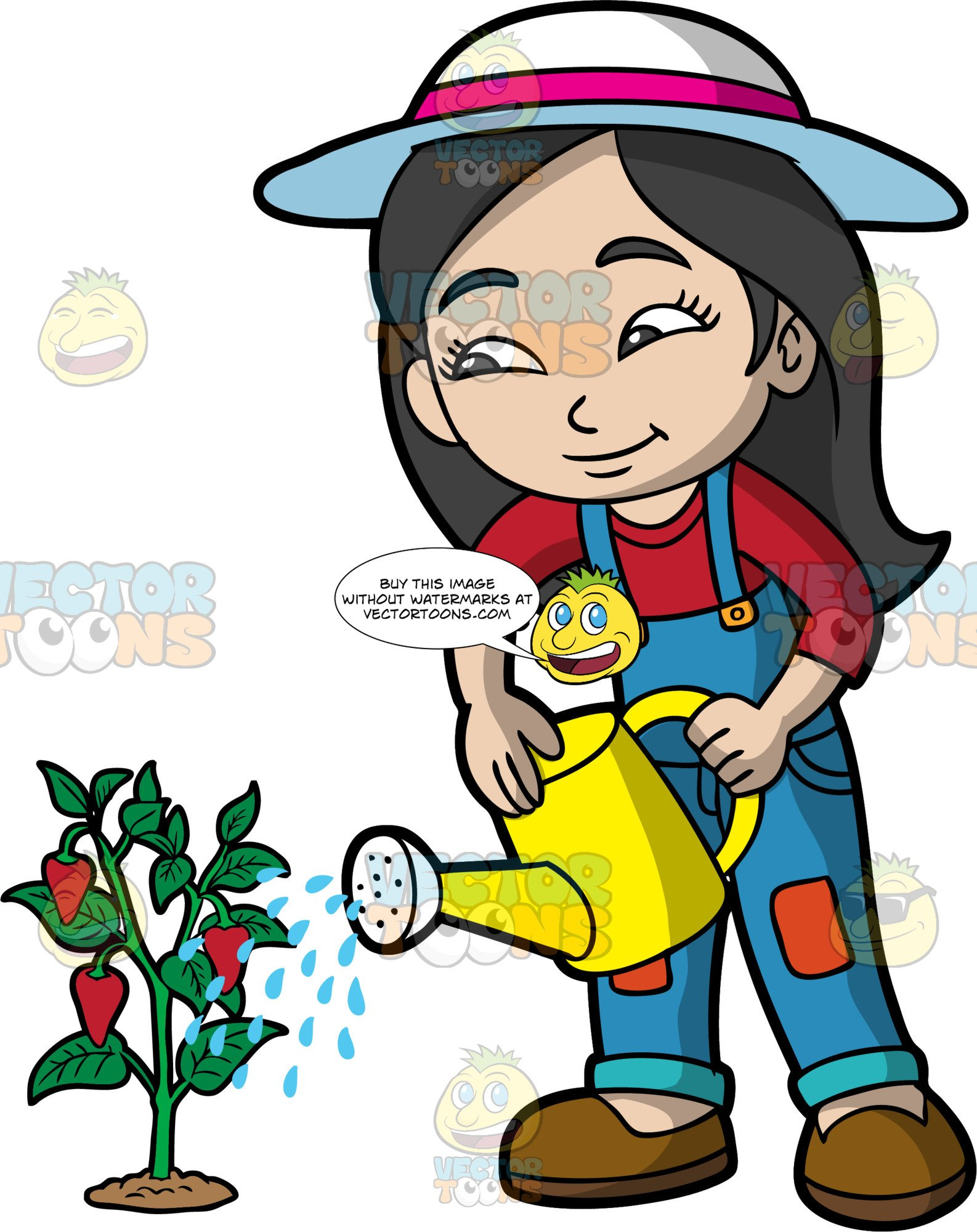 An Asian Girl Watering A Strawberry Plant.