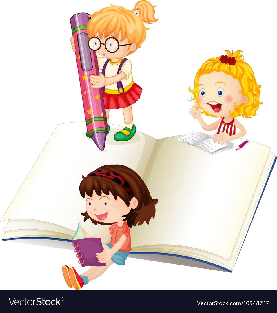 Girls reading and writing book Royalty Free Vector Image.