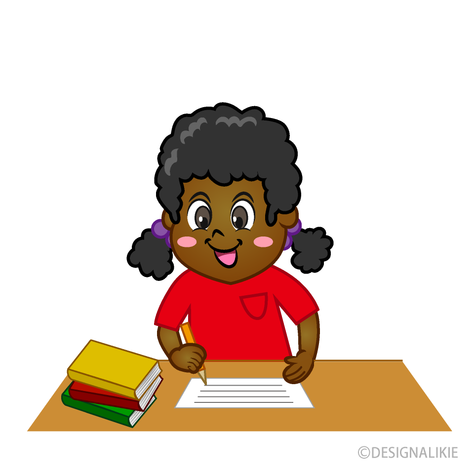 Free Smile Girl Writing Clipart Image|Illustoon.