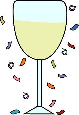 Champagne Glass and Confetti Clip Art.