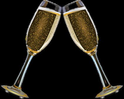 Champagne, Glasses.