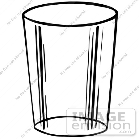 Clipart Of A Glass Cup In Black And White.