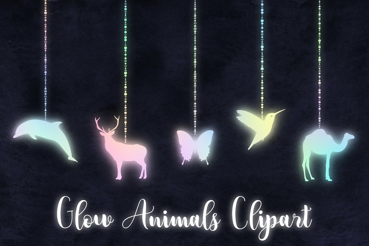 Glowing Animals Clipart ~ Graphics ~ Creative Market.