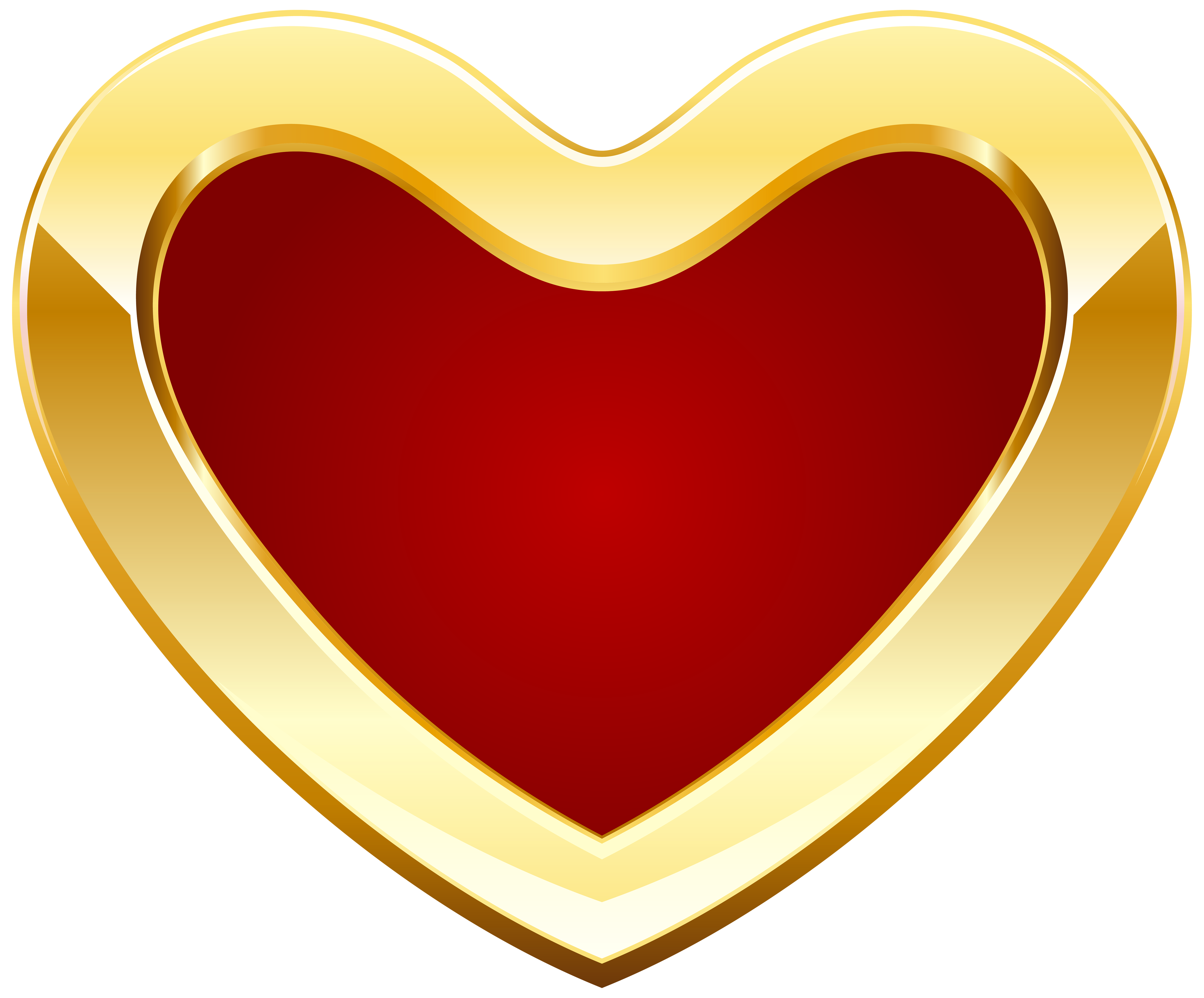 Red and Gold Heart PNG Clipart.