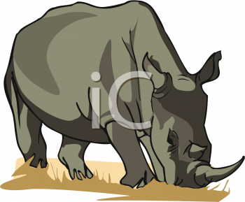 Clipart Picture of a Rhinoceros Grazing.