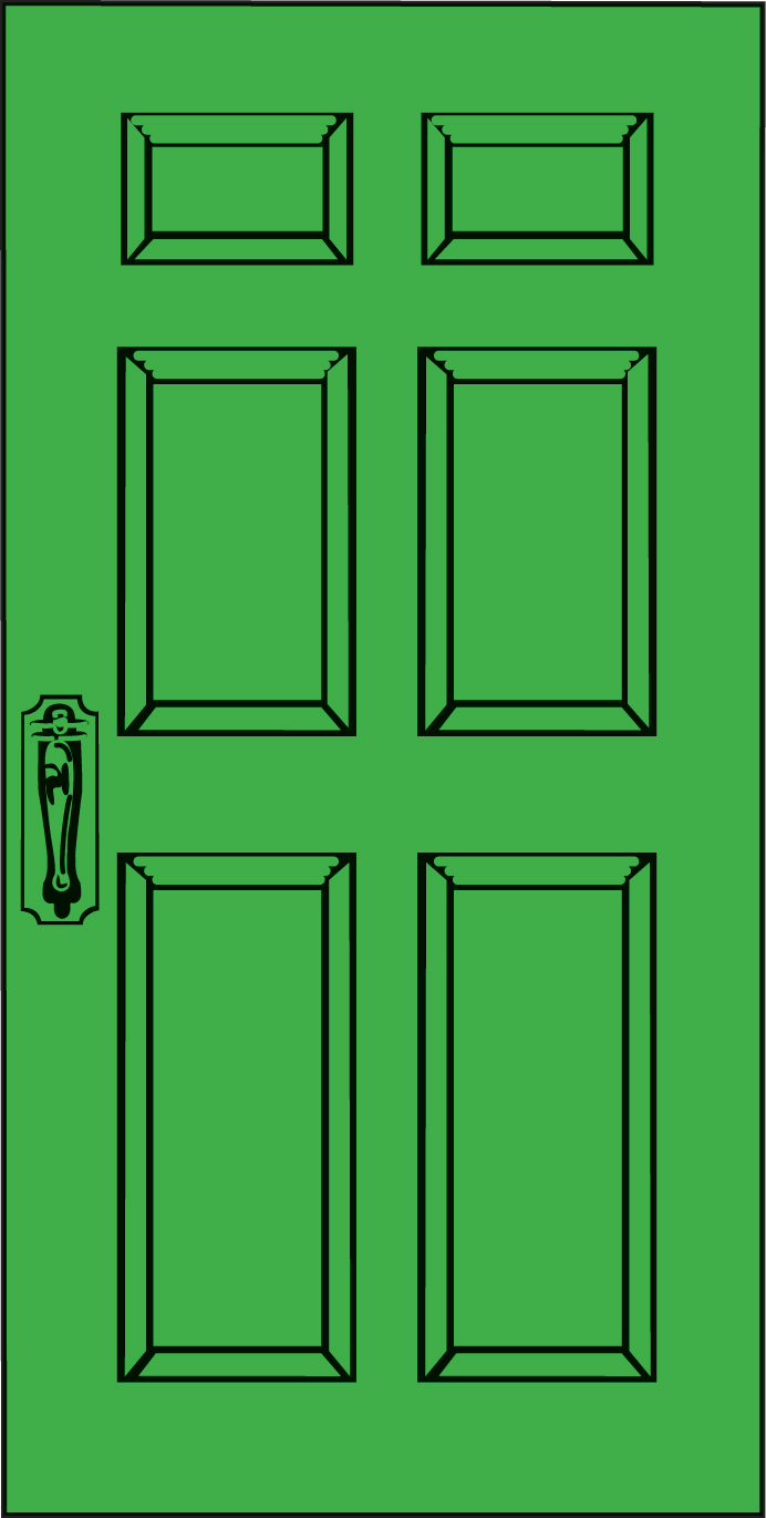 Green door clipart.