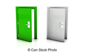 Stock Illustration of 3d door open.