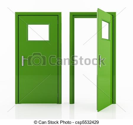 Stock Illustration of green door.