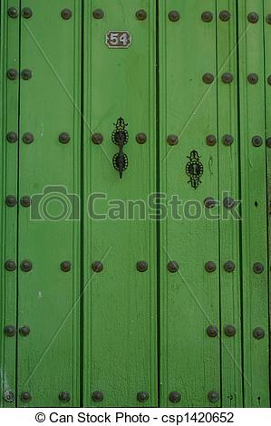 Stock Photo of Vintage green door.