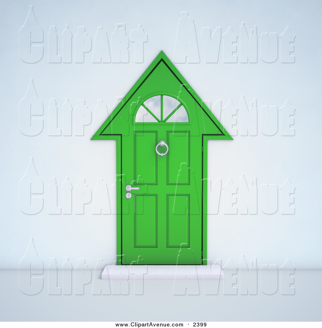 Avenue Clipart of a 3d Green House Shaped Front Door by Mopic.