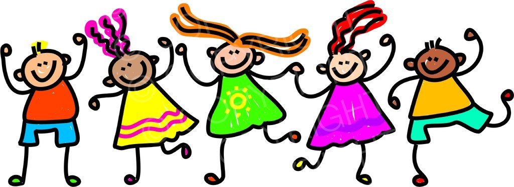 Toddler Art Happy Group of Friends Prawny Clipart.