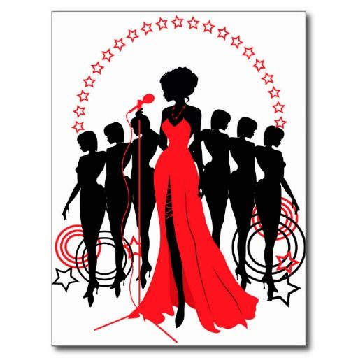 Women group graphic silhouettes. Different person Postcard.