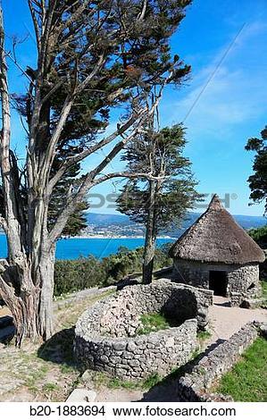 Stock Photo of Castro of Santa Tegra, Iron Age village, A Guarda.