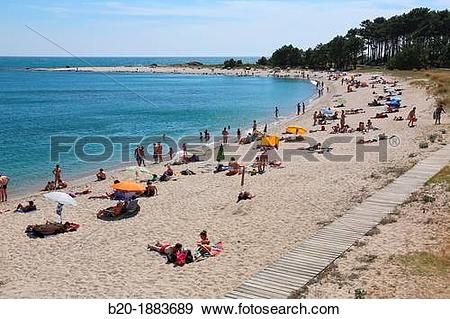 Stock Photograph of A Praia beach, Minho River estuary, Spain and.