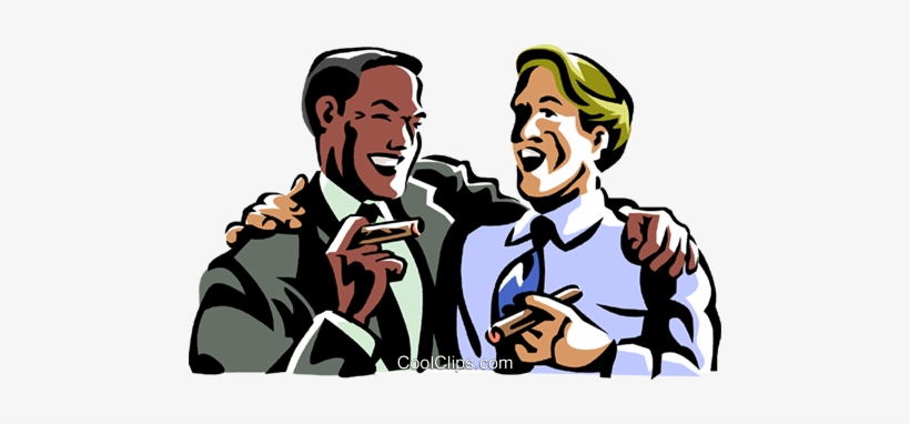 Men Laughing While Smoking A Cigar Royalty Free Vector.