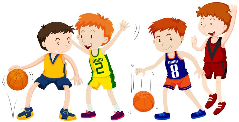 Boys playing basketball on white background.