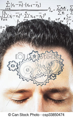 Picture of Thinking process concept with gears on man forehead at.