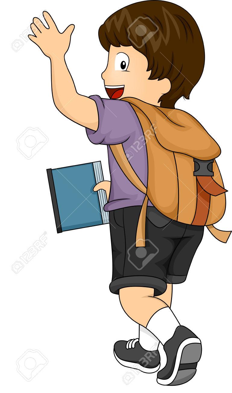 Child Waving Goodbye Clipart.