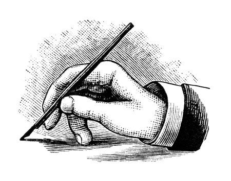vintage hand writing with pen, black and white clipart.