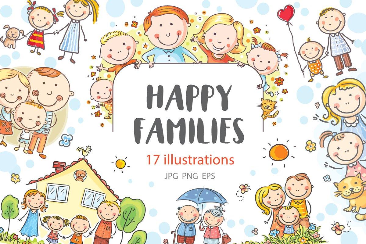 Happy families bundle family clipart.