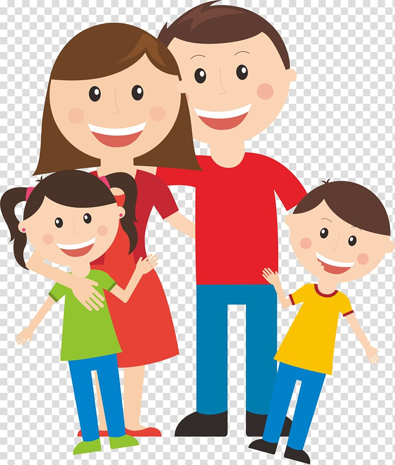 Illustration, Happy family of four transparent background.