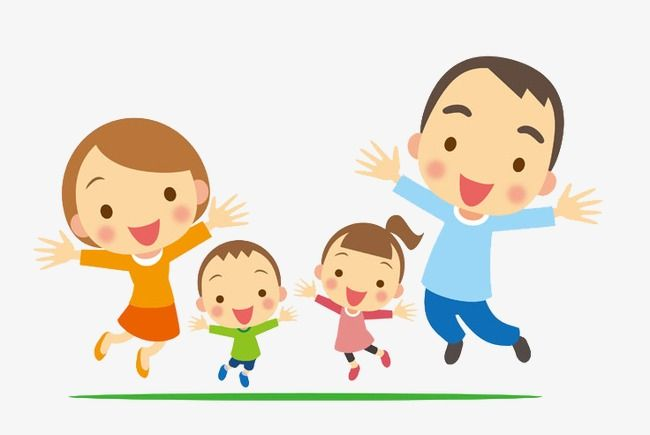 Happy Family, Family Clipart, Family, Hand Painted Family.