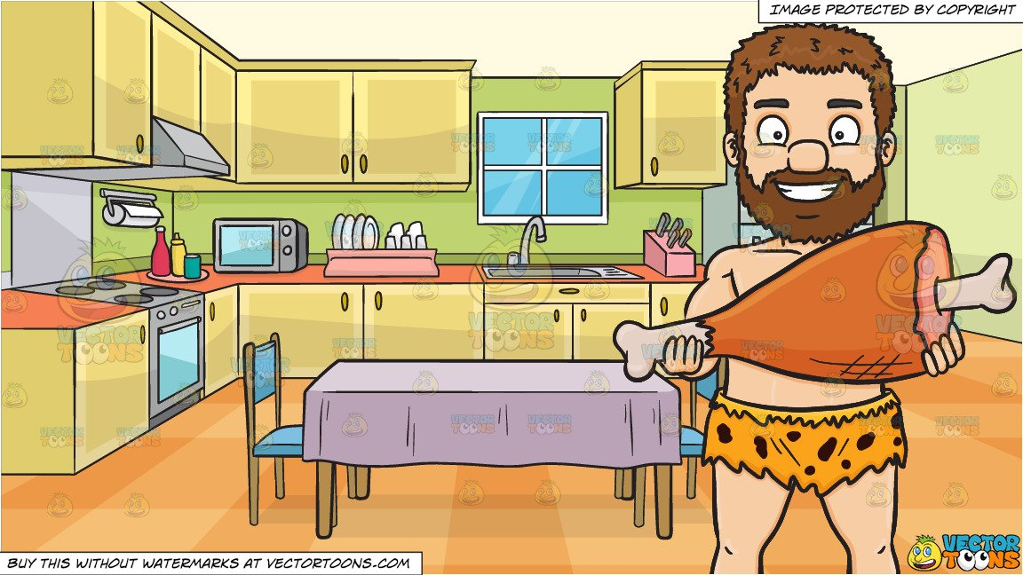 A Caveman Proudly Displays A Huge Bone In Ham and A Family Kitchen With A  Dining Table And Two Chairs Background.