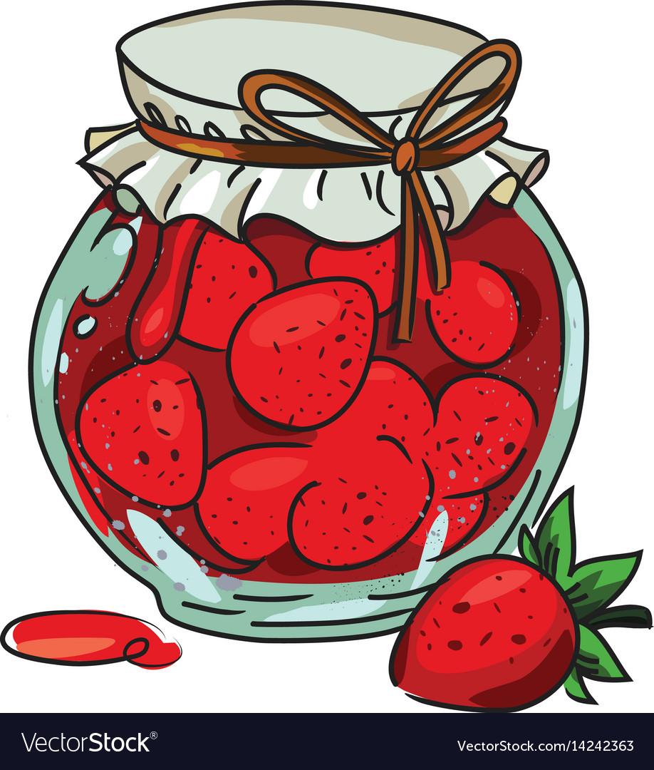 Cartoon image of jar of strawberry jam.