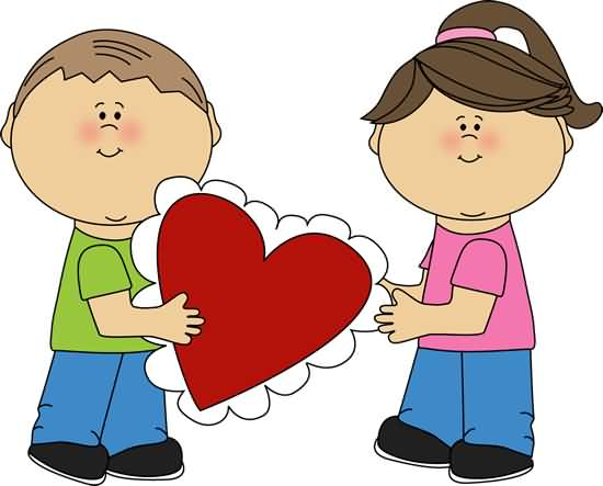 Valentine\'s Day Kids With Heart Clipart.