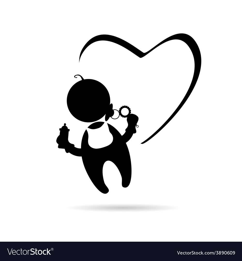 Baby with heart icon.